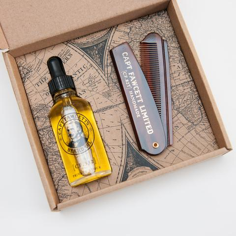 Подарочный набор Captain Fawcett Beard Oil & Folding Pocket Beard Comb