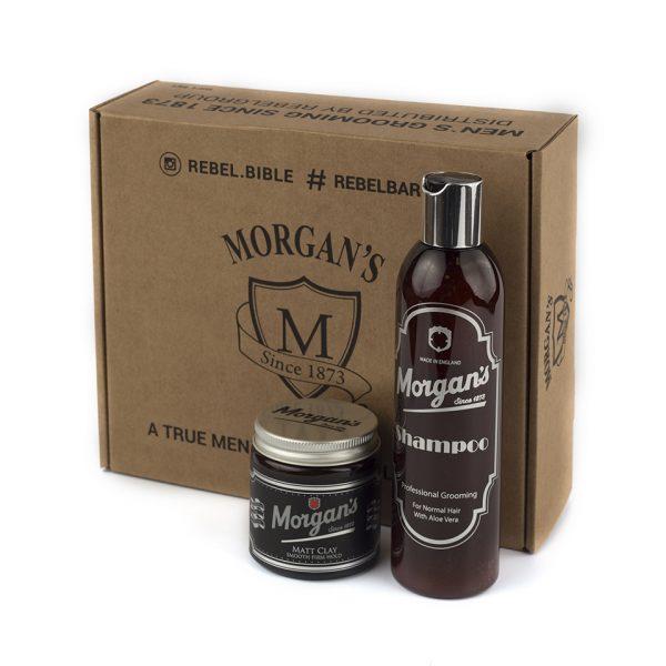 Подарочный набор шампунь и глина с кератином для укладки Morgans