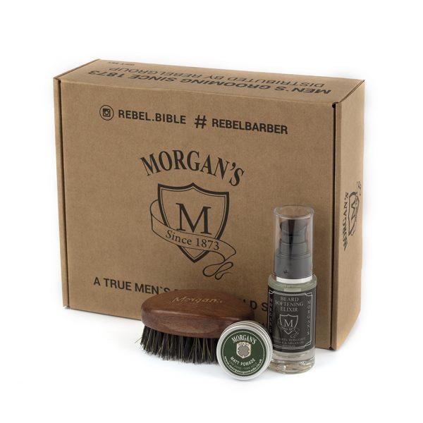 Подарочный набор эликсир и щетка для бороды и усов с тестером Morgans